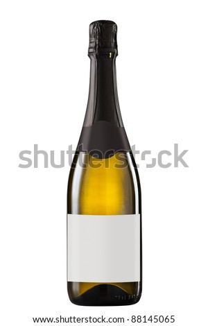 Sparkling white wine bottle with blank label - stock photo
