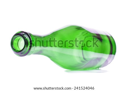 Sparkling wine bottle top corner view isolated on the white background
