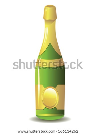 Sparkling wine, champagne bottle on white background. - stock photo