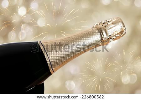sparkling wine on new years eve - stock photo
