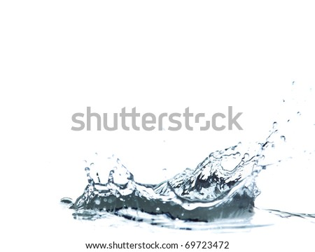 Sparks of blue water on a white background - stock photo
