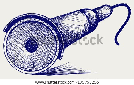 Sparks while grinding iron. Doodle style. Raster version - stock photo