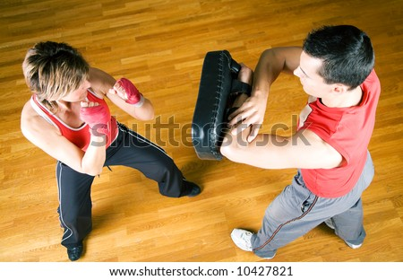 Sparring session in martial arts - stock photo