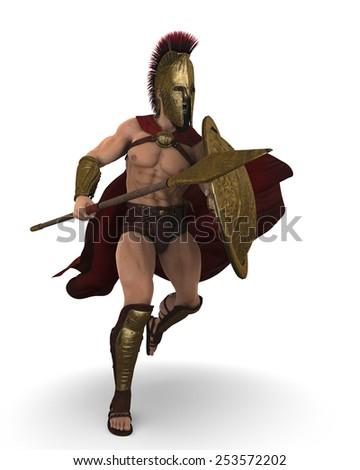 spartan attack - stock photo