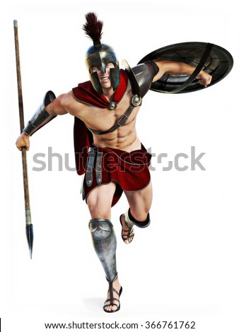 Spartan charge , Full length illustration of a Spartan warrior in Battle dress attacking on a white background. Photo realistic 3d model scene. - stock photo