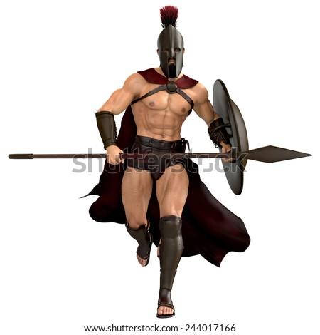 spartan running frontal - stock photo