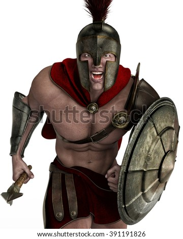 spartan soldier close up - stock photo