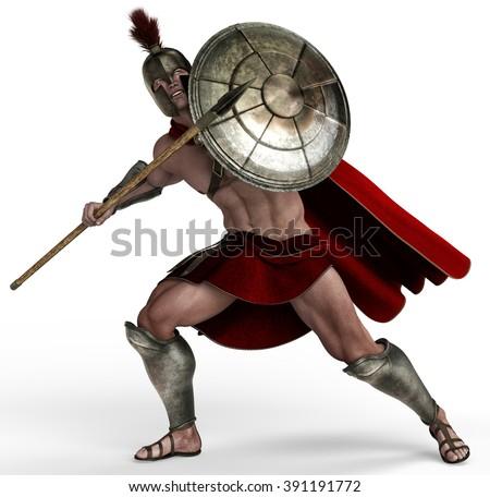 spartan soldier deffender - stock photo
