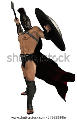 spartan soldier frontal attack - stock photo