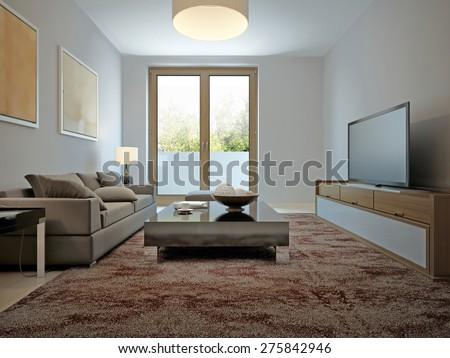 Spasious living room avant-garde style. 3d render - stock photo