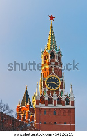 Spasskaya tower of Moscow Kremlin - stock photo