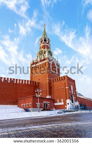 Spassky  Tower with chimes of Moscow Kremlin on Red square in Moscow, Russia - stock photo