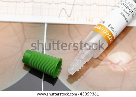 Spatula and medical result- concept for medical examination and check-up. - stock photo