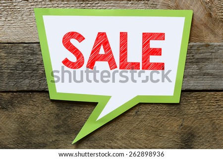 Speach bubble with sale sign - stock photo