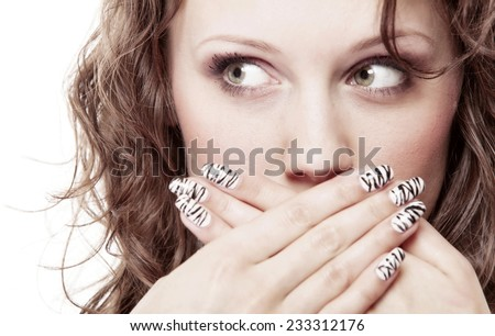 Speak no evil concept. Surprised woman face, girl covering her mouth with hands over white background - stock photo