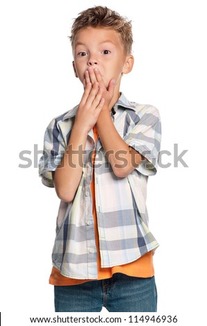 Speak no evil - portrait of teen boy isolated on white background - stock photo