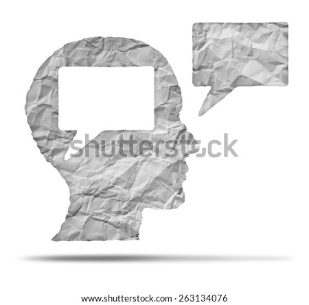 Speak out concept and express your opinion symbol as a crumpled paper shaped as a human head and talk balloon as a communication icon for broadcasting inner thoughts. - stock photo