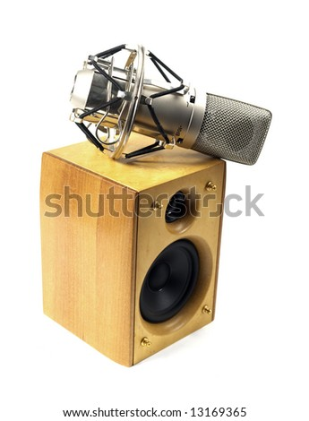 speaker and microphone on white background - stock photo
