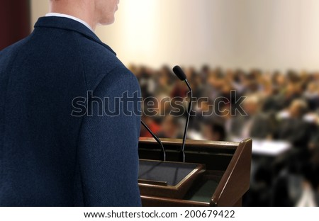 Speaker at Seminar Presentation - stock photo