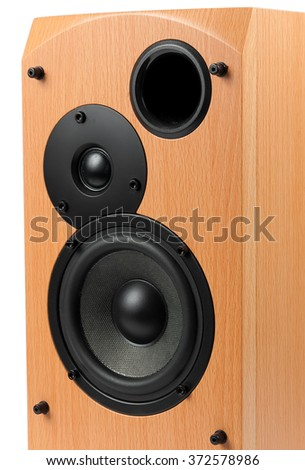 Speaker isolated on white background. Audio speakers in a wooden case - stock photo