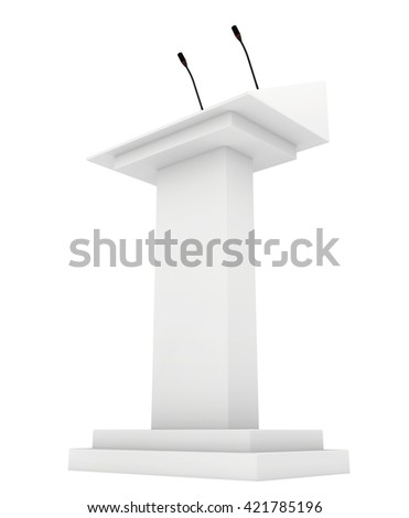 Speaker podium tribune rostrum stand with microphones. 3d render isolated on white background. Debate, press conference. - stock photo