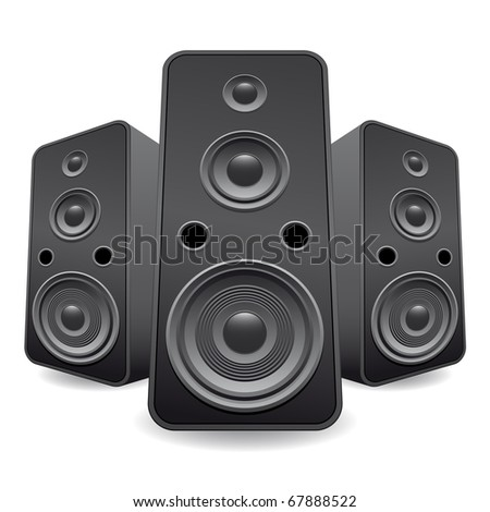 speaker set isolated - stock photo