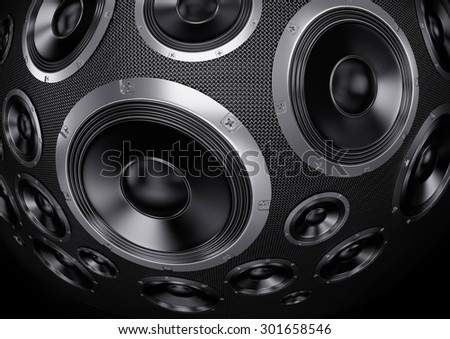Speakers Abstract Background. 3D Render - stock photo