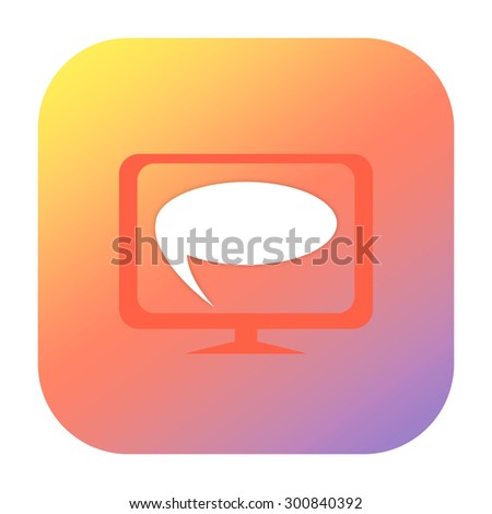 Speaking bubble on the screen icon - stock photo
