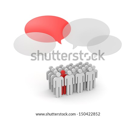 Speaking out from the crowd - stock photo