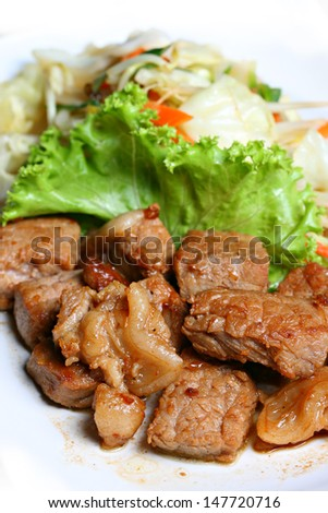 Specail meat grilled steak with vegetables