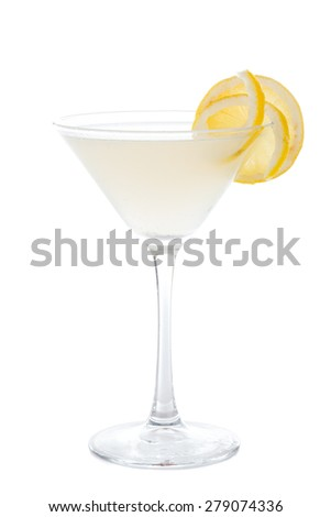 Special alcoholic cocktail containing vodka, limoncello, lemon peel, lemon juice, sugar syrup decorated with a slice of lemon. - stock photo