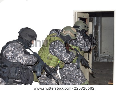"special anti-terrorist unit, ""knocking on doors"", dynamic entry - stock photo"