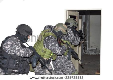 "special anti-terrorist unit, ""knocking on doors"", dynamic entry - stock photo"