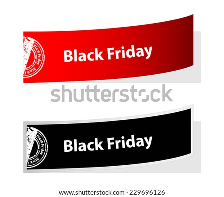 special black friday labels with stamp - stock photo