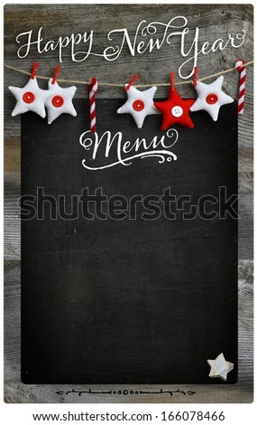 Special Christmas and New Year`s holiday restaurant bistro menu design on vintage wooden blackboard with copy space