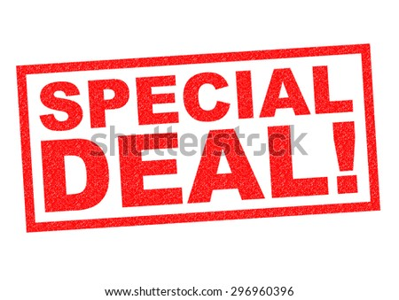SPECIAL DEAL red Rubber Stamp over a white background. - stock photo