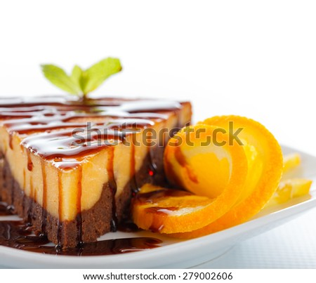 Special dessert named cheesecake brownie, a composite of these two cakes. - stock photo