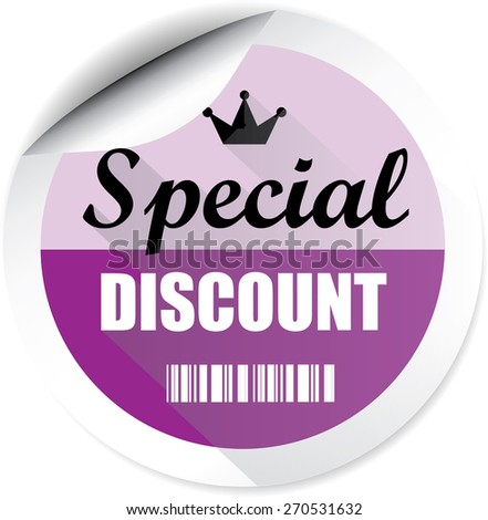 Special discount modern style purple stickers and label. - stock photo