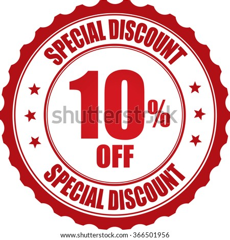 Special discount 10% off stamp. - stock photo