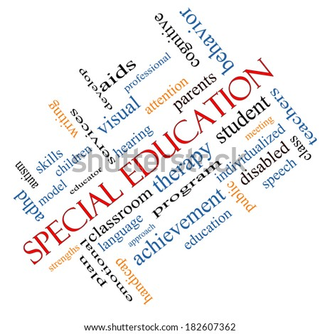 Special Education Word Cloud Concept angled with great terms such as student, individualized, program and more. - stock photo