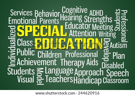 Special Education word cloud on Green Background - stock photo