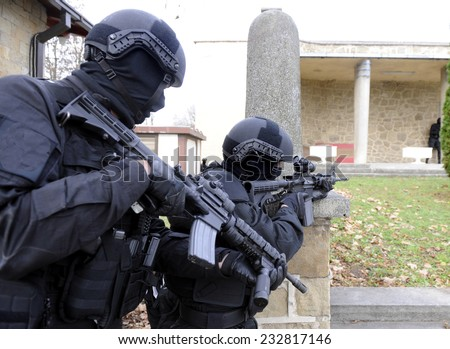 Special force police in action - stock photo