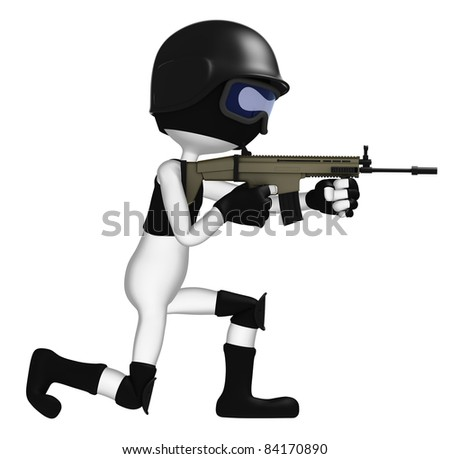 Special force soldier in black tactical suit. Isolated on white background - stock photo