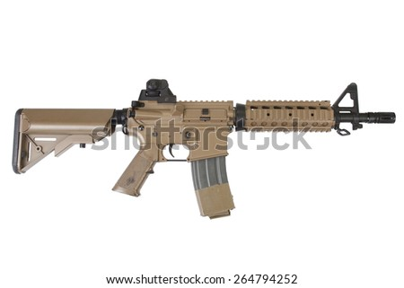 special forces rifle isolated on a white background - stock photo