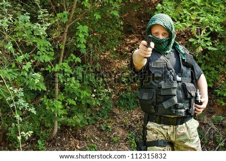 Special Forces soldier, armed terrorist - stock photo
