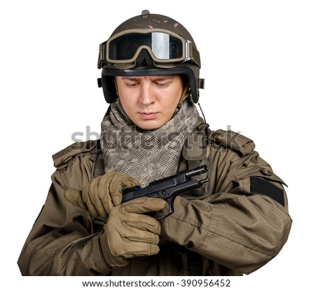 Special forces soldier on white background - stock photo