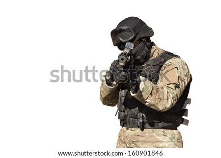 Special Forces soldier, with assault rifle, police swat, isolated on white - stock photo