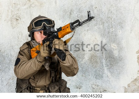 Special forces soldier with rifle