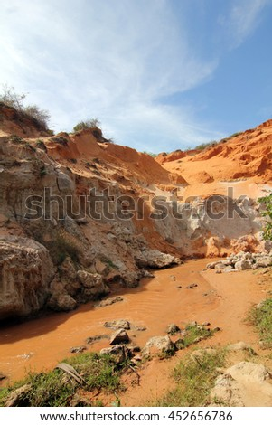 special geological characteris at fairy stream, mui ne, vietnam