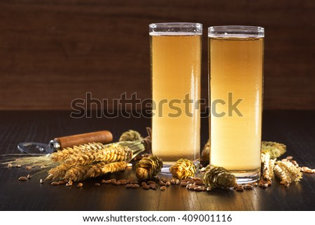 Special German Cologne beer glasses with hops, wheat, grain, barley and malt - stock photo